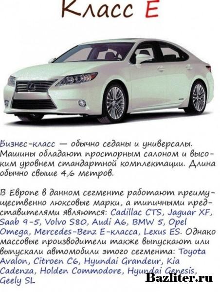 Классы легковых автомобилей, в зависимости от их габаритов
