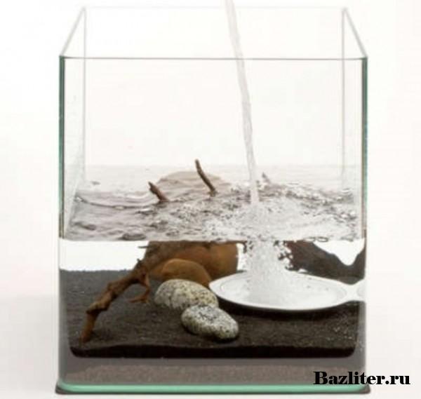 Заполнение аквариума водой