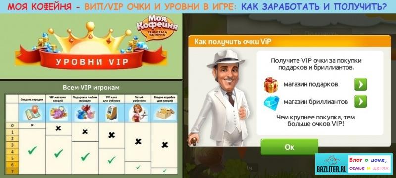 Моя кофейня - ВИП/VIP очки и уровни в игре: для чего нужны, какие плюсы, как получить, повысить и заработать