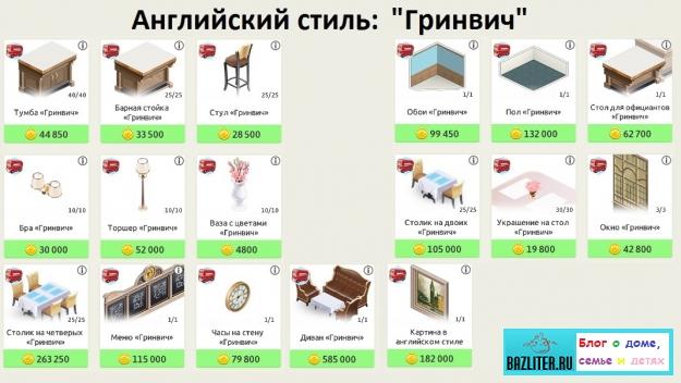 """Моя кофейня: """"Английский стиль"""" в игре. Описание подстилей, список уровней, цены на мебель и очки престижа"""
