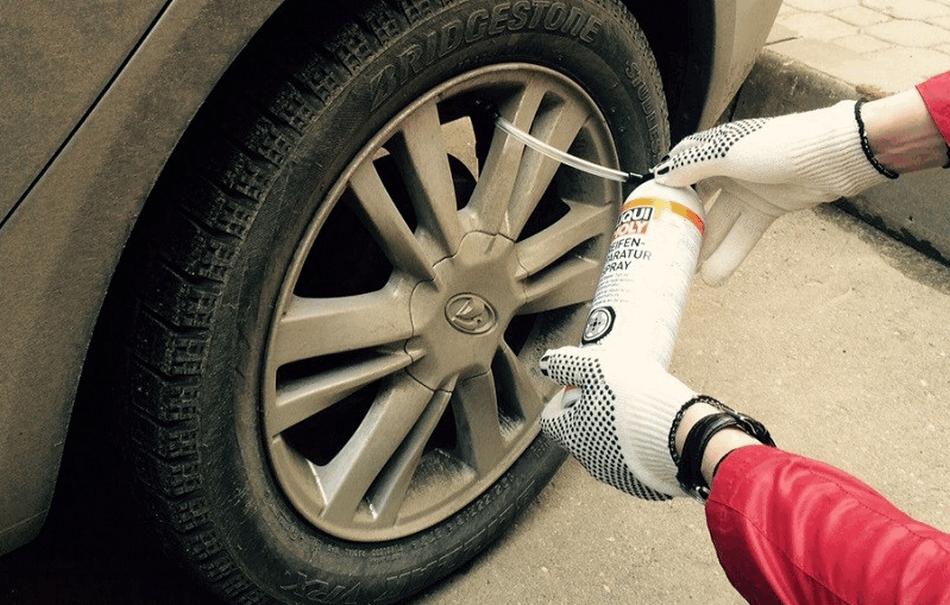 герметик от прокола шин в дороге